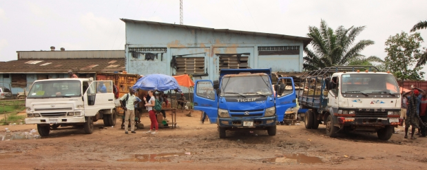 Trucks in Red Light, Liberia's biggest market.